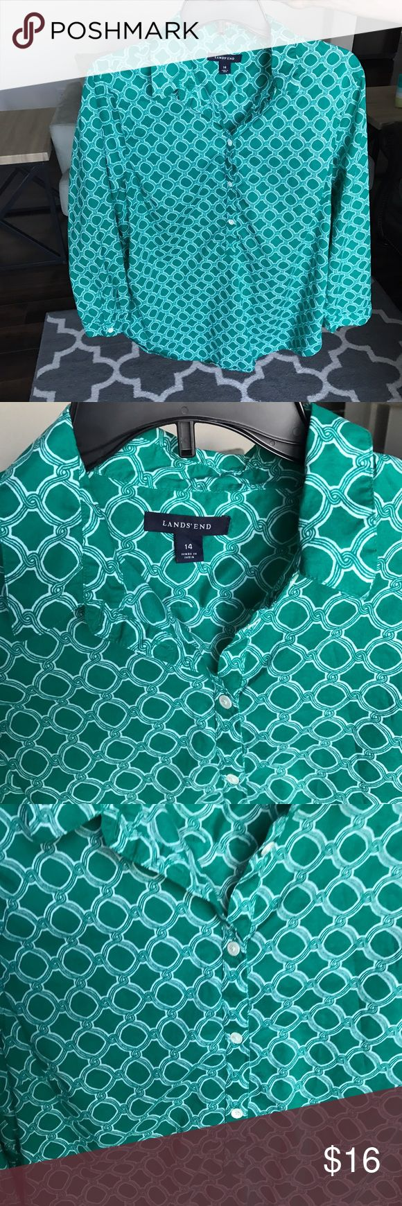Lands' End Green Top Lands' End Green Geometric Pattern Top.  3/4 sleeve, collared blouse that buttons approximately half way down.  Slightly rounded hem.  Lightweight material; perfect for spring, summer, and fall months.  Looks cute paired with leggings and tall boots.  Gently used.  Stored in smoke and pet free home. Lands' End Tops Button Down Shirts