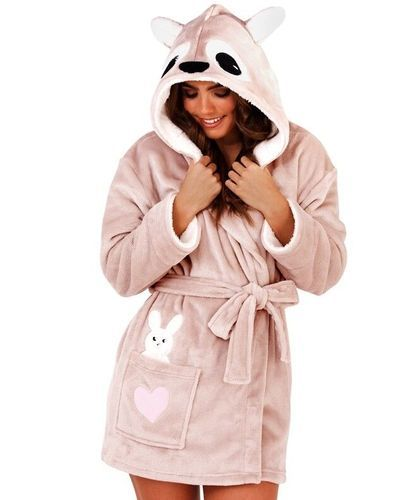 Ladies Pink Luxury Fleece Kangaroo Hood Short Bath Robe  9a3129af0