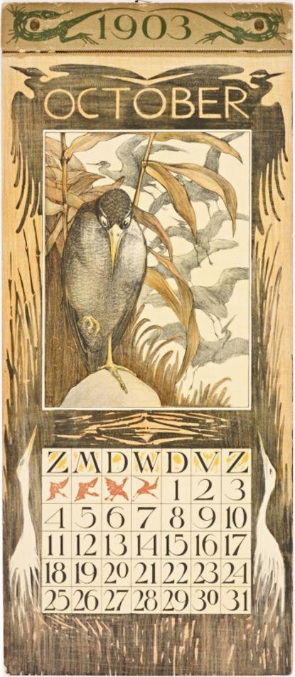 Theo van Hoytema (1863-1917, Dutch), 1903, October Calender, Amsterdam, Editeur: Tresling & Co., 48 x 22 cm.