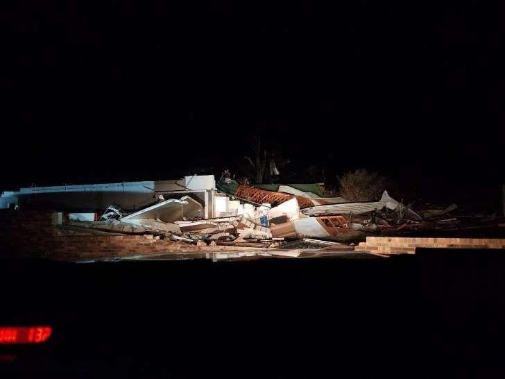 Building destroyed by tornado in Rosalie, Alabama, on Nov. 30, 2016.: Image: Rosalie building destroyed by tornado in Alabama