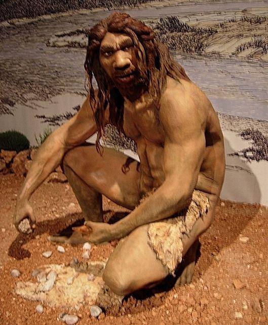 Recreación de Homo heidelbergensis tallando herramientas líticas. Jose Luis Martinez Alvarez from Asturias, España - Homo heidelbergensis. Homo heidelbergensis (10233446) - Paleolítico inferior - Wikipedia, la enciclopedia libre