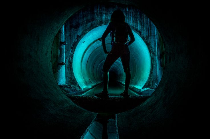"""Darkday is about to step into the icey waters of the Air Services storm drain mini dam. I have already been into the water and told her it was """"nice and warm today"""", but its not! Its freezing cold and made me take a sharp breath in. hehehee. I like to make her squeal, it will be funny..."""