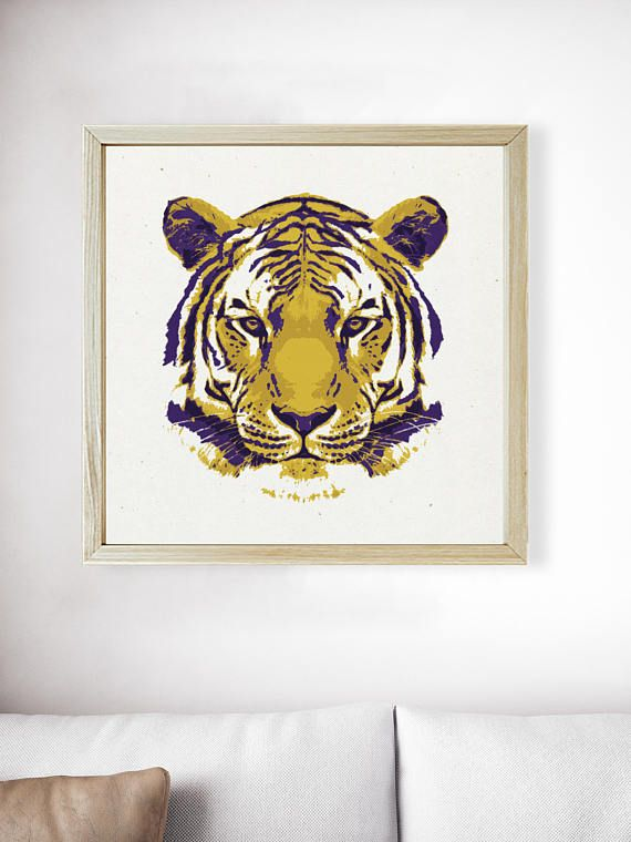 Tiger Art | Tiger Print | Man Cave | Gifts for Men | LSU | Purple and Gold | Mens Gift | Christmas Gift | Poster | Office Decor. Available at The Peoples ...