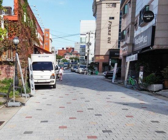 보도블록 시공현장, 이면도로, 길, 골목길, 에코청진, 네오스톤블록, 보도블럭