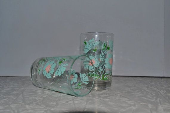 Taylor Smith Taylor Boutonniere Juice Glasses Set of 2 ~ Turquoise Glasses ~ Mid Century ~ Epsteam