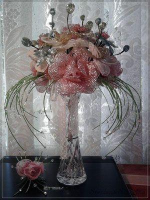 Фотографии цветов и деревьев из бисера, выполненных во французской технике бисероплетения, ручная работа.