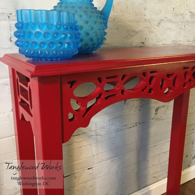 Chinese Red Ornate Entryway Table