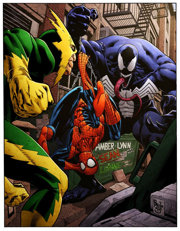 oh oh! look what venom caught! his very own spiderman! Electro looks jealous