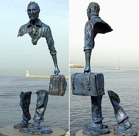 Disappearing man sculpture in France.