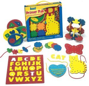 Lauri Toys Primer Pak The Primer Pak from Lauri serves as a primer for the developing young one, testing manipulative skills and reasoning.  http://bit.ly/1v0Lh4Z