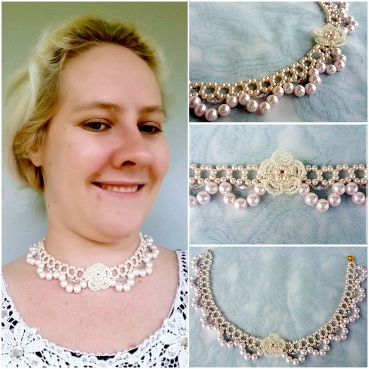 Glass pearls are beadwoven with swarovski crystals and accented with a beaded flower for a classic vintage feel. Adding to the floral theme it comes together with a little gold coloured flower clasp.   Handmade by Annalee Beer of EverAfter Artisanry