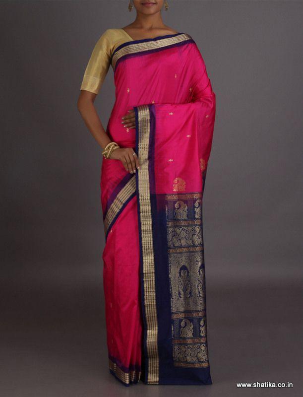 Pinky Dark Pink And Navy Blue Intricate #SambalpuriSilkSaree