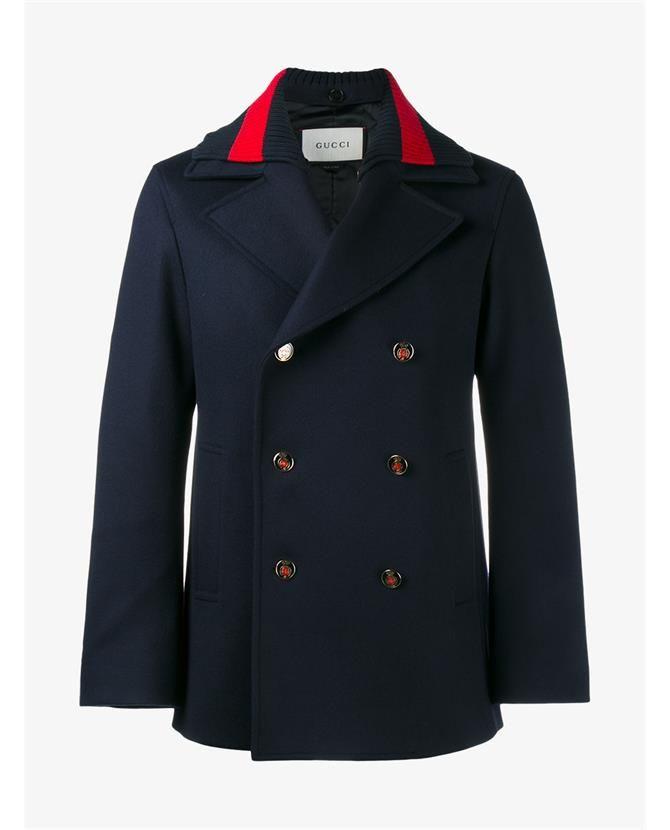 GUCCI Web Wool Pea Coat. #gucci #cloth #