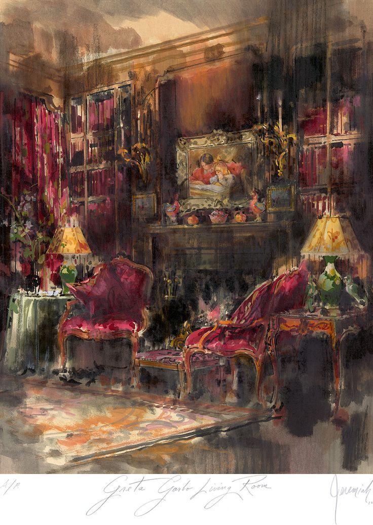 Jeremiah GoodmanInteriors Rendering, Jeremiah Goodman, Painting Interiors, New York Cities, Interiors Illustration, Greta Garbo, Art Interiors, Artists Rendering, Inspiration Art