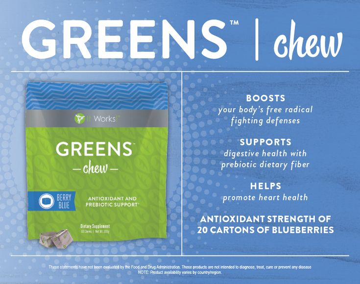 Snack your way to better health with a deliciously sweet blend of fruits and veggies in a super soft chew.  With a nutritional boost of prebiotic fiber, support for healthy blood pressure levels, and the antioxidant strength of 20 cartons of blueberries in every serving, Greens Chew packs a powerful punch to support your overall health and wellbeing.   http://newlifebodywraps.myitworks.com/shop/product/321/  | #itworksgreens