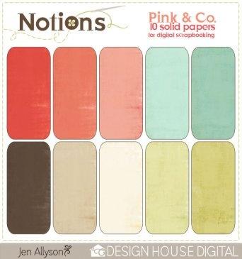 Notions Pink & Co Digital Scrapbooking Solids By Jen Allyson