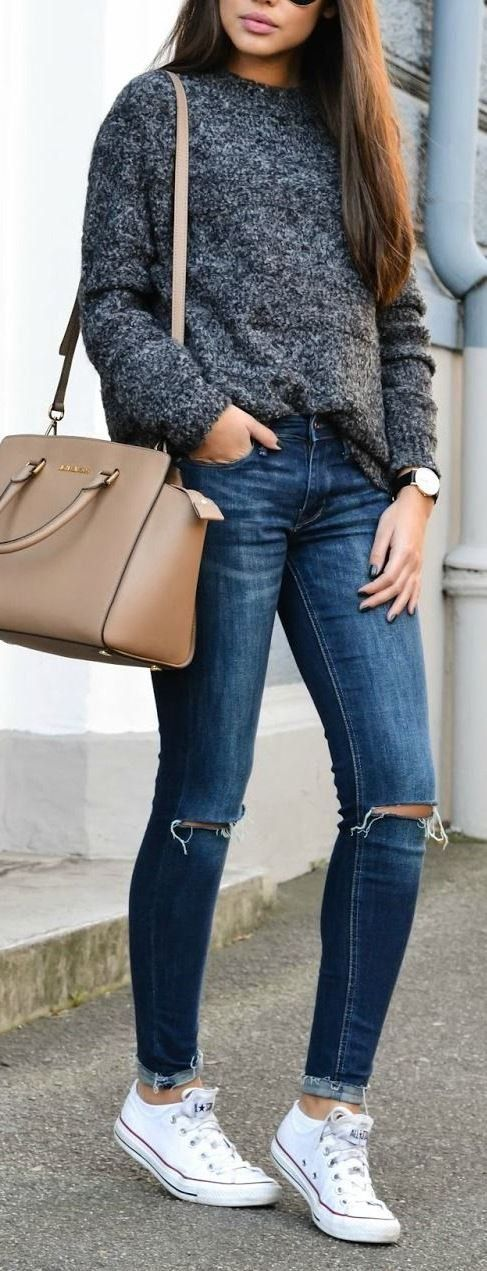 perfect outfit idea: bag + knit + rips