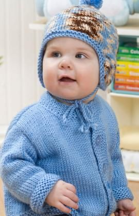 Baby Cardigan & Hat Free Knitting Pattern from Red Heart Yarns