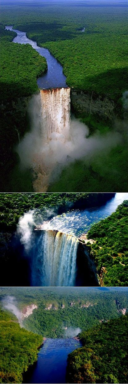 photos of the Kaieteur Falls in Guyana & is the largest single drop waterfall in the world!