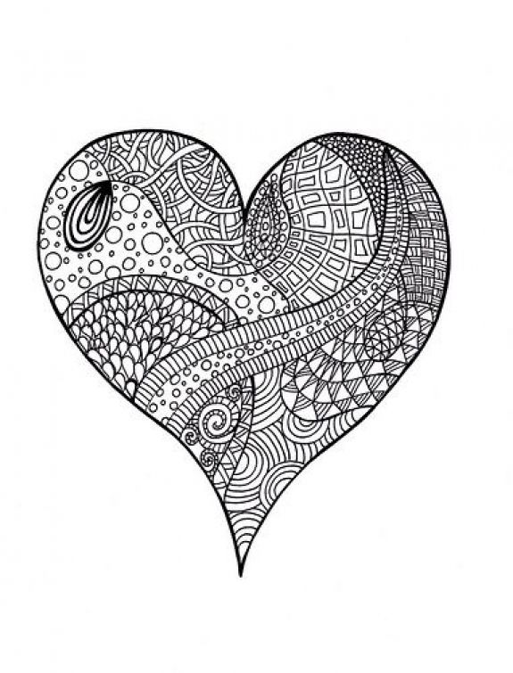 Complicated Coloring Page Of Heart Doodle Art For Adults