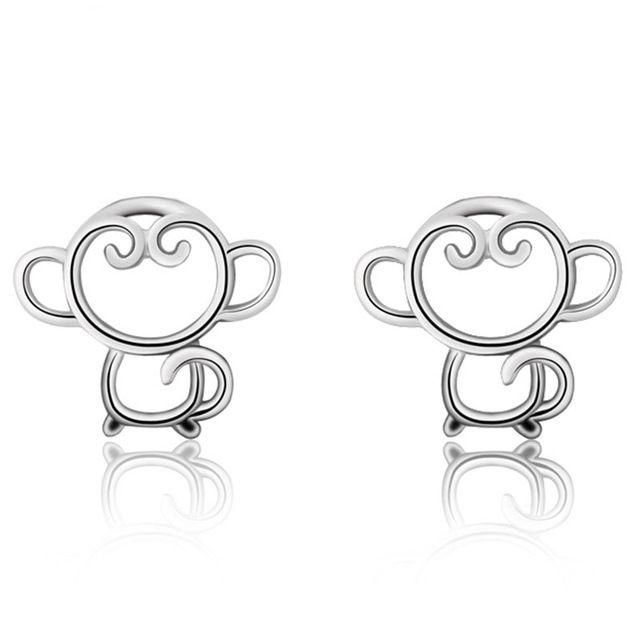 Милые Животные Обезьяна Форма Серьга Стерлингового Серебра 925 Ювелирные Изделия Для леди Подарки На День Рождения и Юбилей С Бесплатной Доставкой
