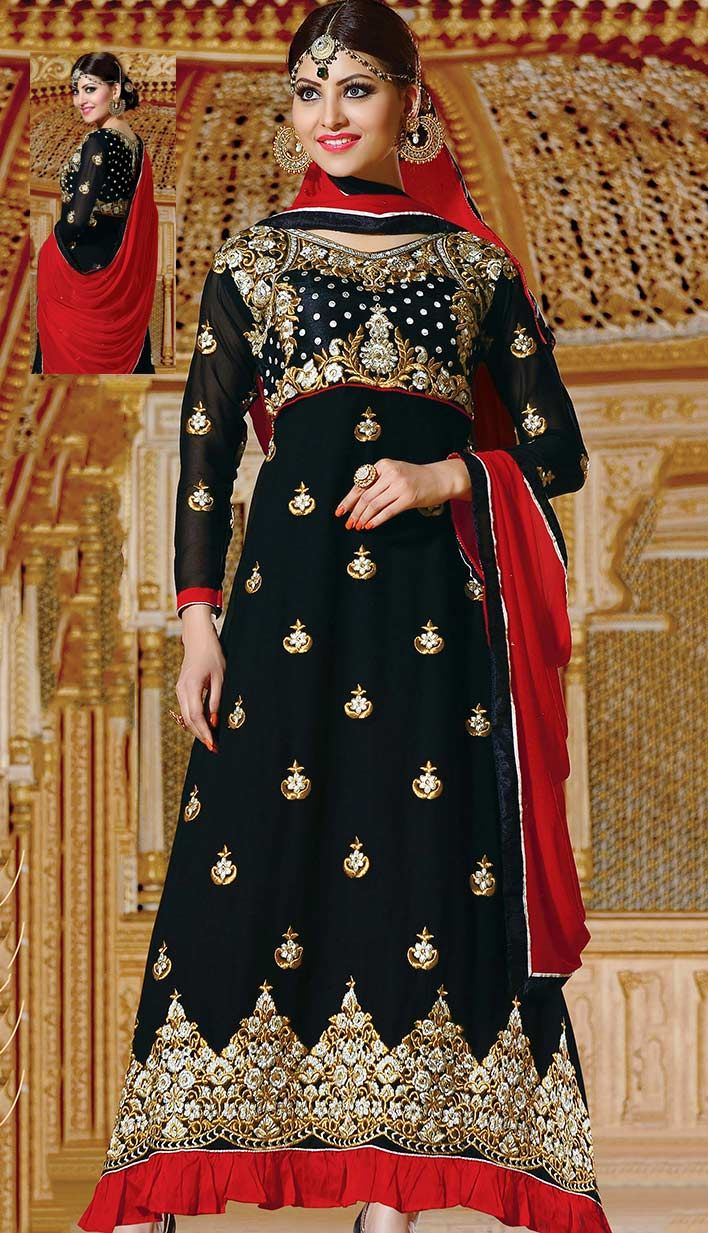 Select the Latest Indian Festival Ethnic Black Georgette #AnarkaliDresses  #Price INR- 3202 Link- http://alturl.com/4cqfo