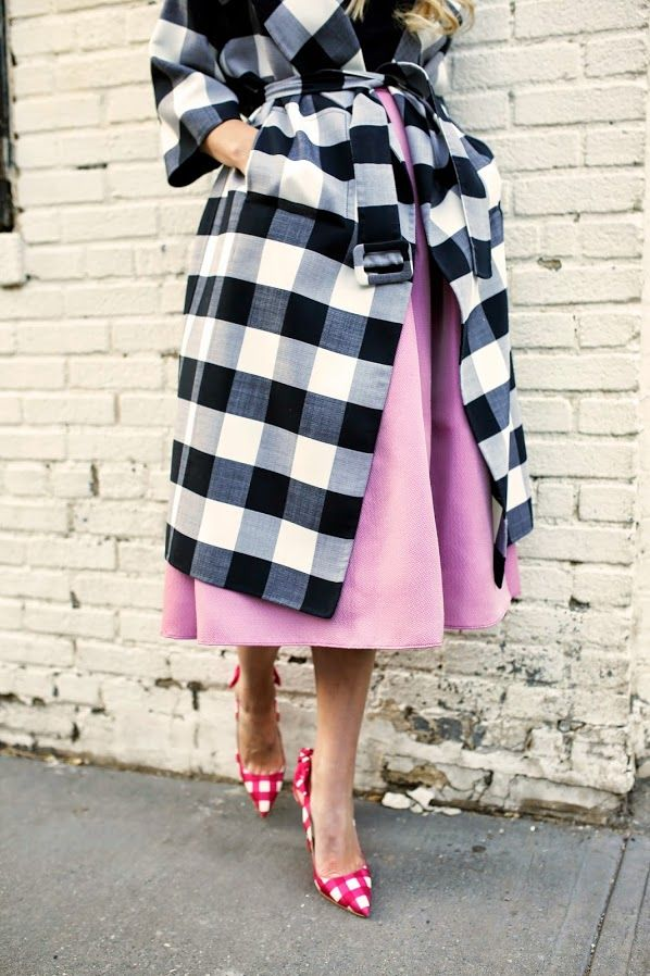pink plaid shoes