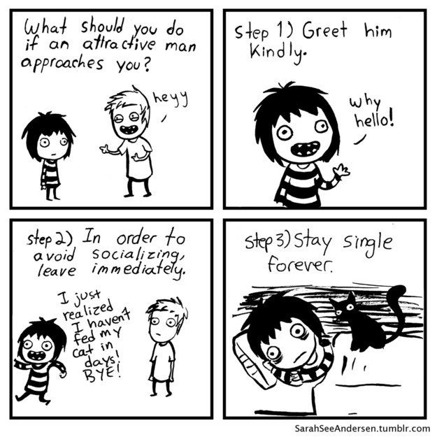 What we do if an attractive person approaches us… | 17 Cartoons That All Twentysomethings Will Be Able To Relate To