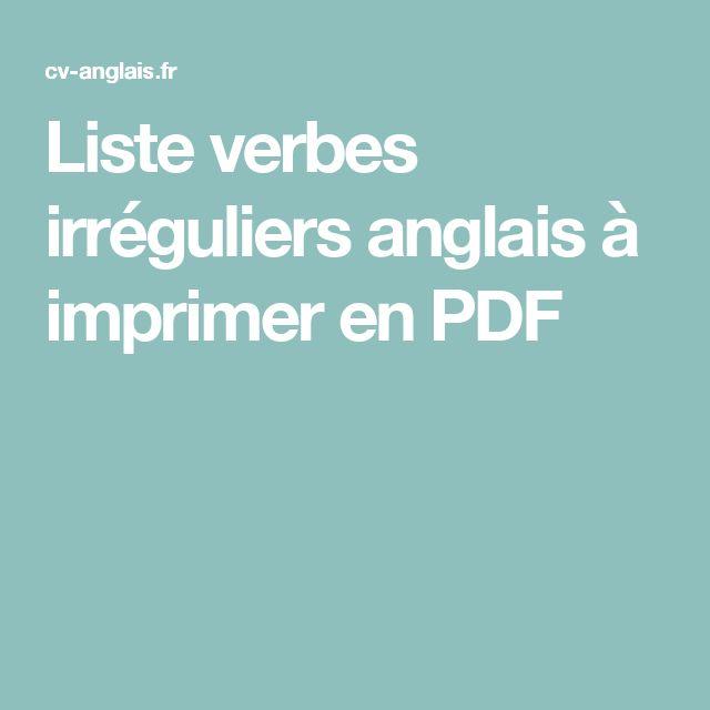 Liste verbes irréguliers anglais à imprimer en PDF | lui