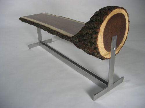 Log Bench, Metal Welding Gallery: Furniture | Dawson Metal Design | Custom Welded Furniture and Artistic Metal Design in Toronto, Ontario