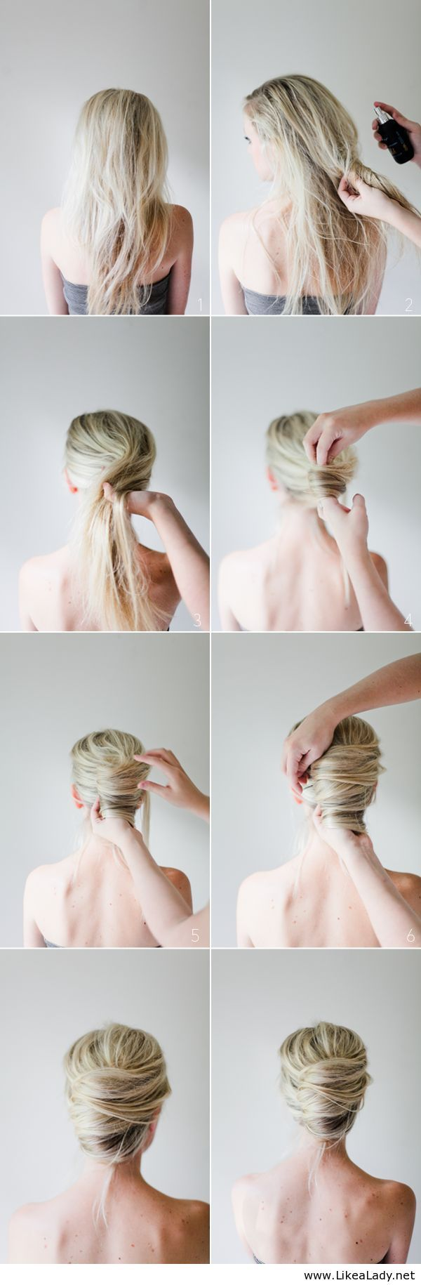 Messy French Twist Tutorial, she is obviously not using her own hands which makes this a little more difficult if one has short arms. D: But I pinz you anyways.