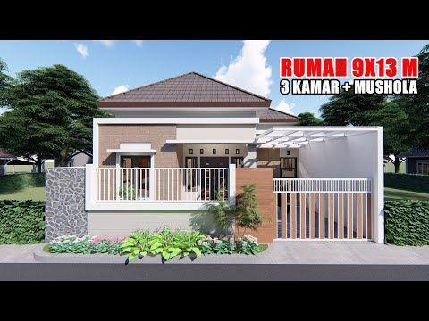 desain rumah 9x13 m dengan 3 kamar tidur ada musholanya