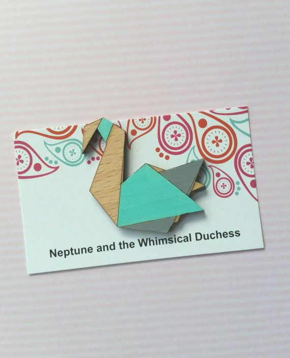 Mint and grey geometric origami style swan by whimsicalduchess