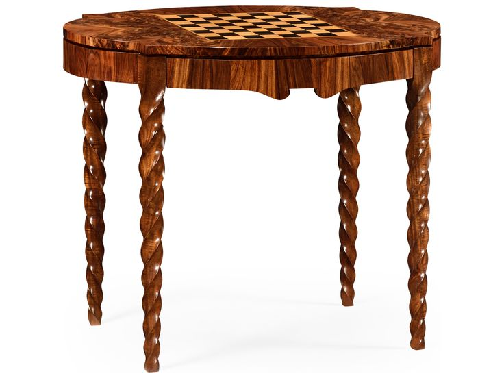 Jonathan Charles Twist collection Tropical Walnut Crotch Game Table