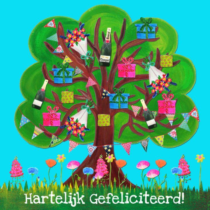 Verjaardagskaart  Feestsboom PA, verkrijgbaar bij #kaartje2go voor €1,99