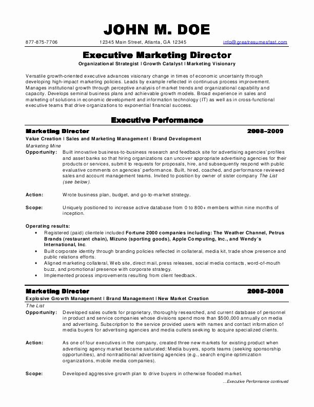 Director Of Marketing Resume Unique Sample Resumes Marketing Director Resume Marketing Resume Professional Resume Samples Executive Resume