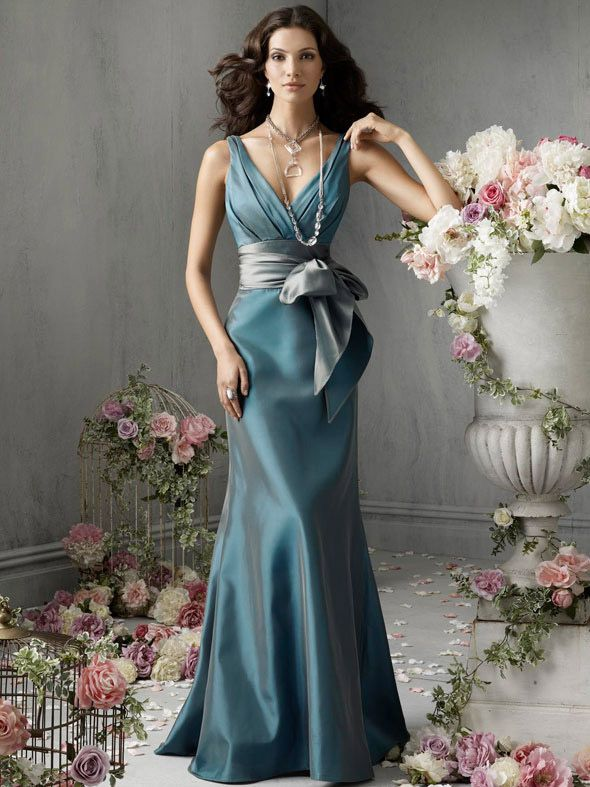 Jasper Elegant Floor Length A-line V-neck Bridesmaid Dress