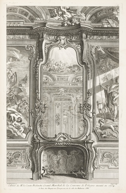 """Tombstone:  Print, """"Design for Fireplace with Mirror over Mantel Flanked by Portions of Paintings"""", 1742–48.  Juste-Aurèle Meissonnier .1742–48. Engraving on white laid paper.Smithsonian, Cooper-Hewitt, National Design Museum"""