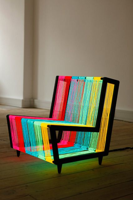 Wallpaper* Magazine commissioned them to create this Disco Chair - made from 200 metres of electroluminiscent (multisyllable high score!) wire that glows like a neon rainbow when powered.