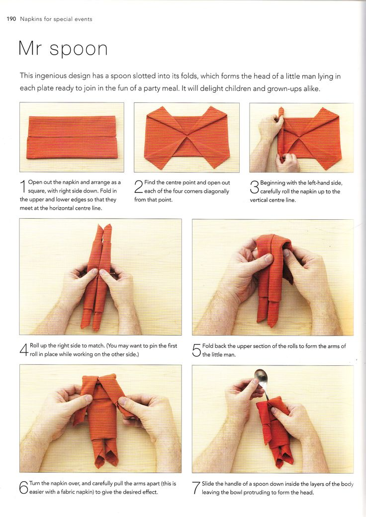 Great napkin folding for kids' parties. Really quick and easy to do (can do with napkins or serviettes, although works better with former in my experience).