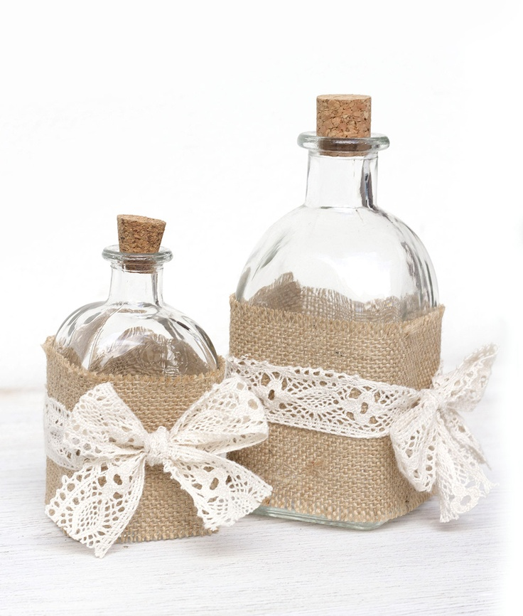 Burlap and lace bottles {kitchen decor}