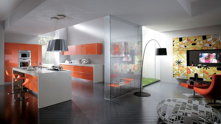 The Flexus door, with its original graphic motif, is available in 14 colours and can be used across the entire composition, transforming the room into a vibrant contemporary space | #Scavolini