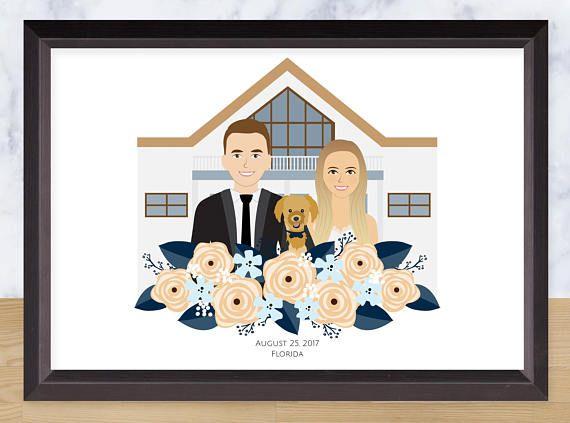 Illustrated Wedding Portrait Wedding Venue Background Custom