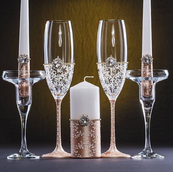 Rose Gold Wedding Glasses Rose Gold Unity Candles Rose Gold