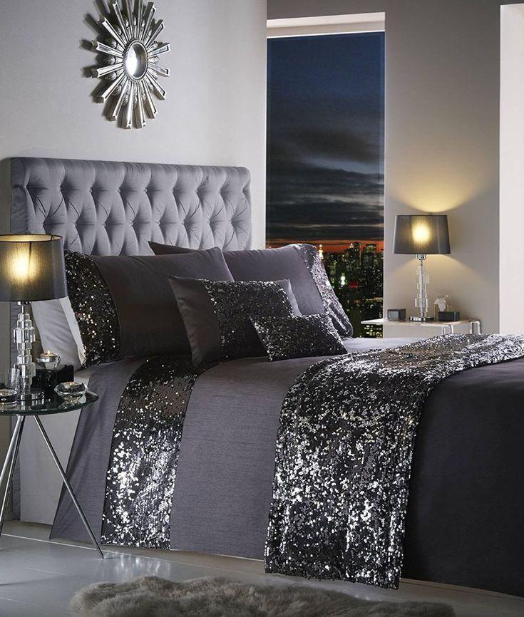 DOUBLE BED DUVET COVER SET DAZZLE CHARCOAL SLATE SEQUIN