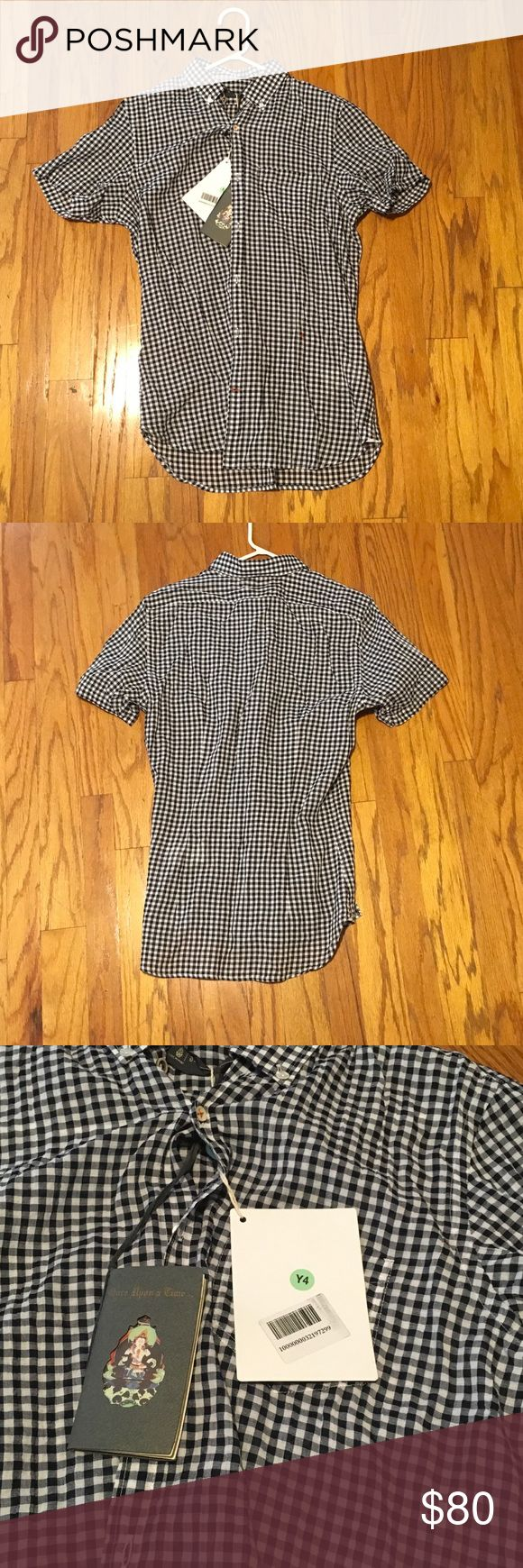 Men's plaid shirt Black and white plaid never worn. Made in Italy Dondup Shirts Casual Button Down Shirts