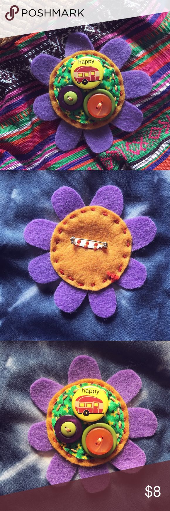 """Handmade Hippie Daisy Brooch A pin/Brooch handmade by me! Made with felt, funky daisy fabric and buttons and a pin that reads """"happy camper""""! This is perfect to pin on your backpack or purse and share the hippie, boho, bohemian, festival, flower child vibes!🌼 Jewelry Brooches"""