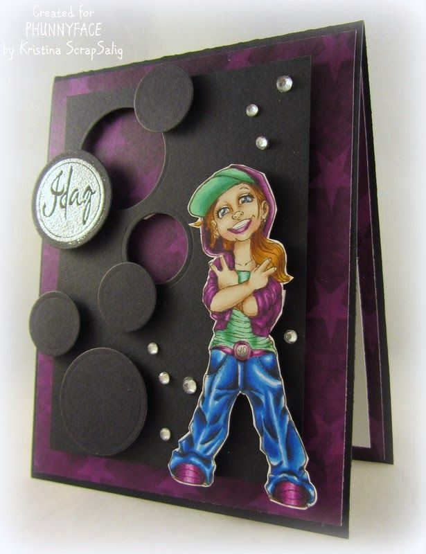 My PhunnyFace stämpel Blogg: Cool girl in black and purple by Kristina Scrapsalig