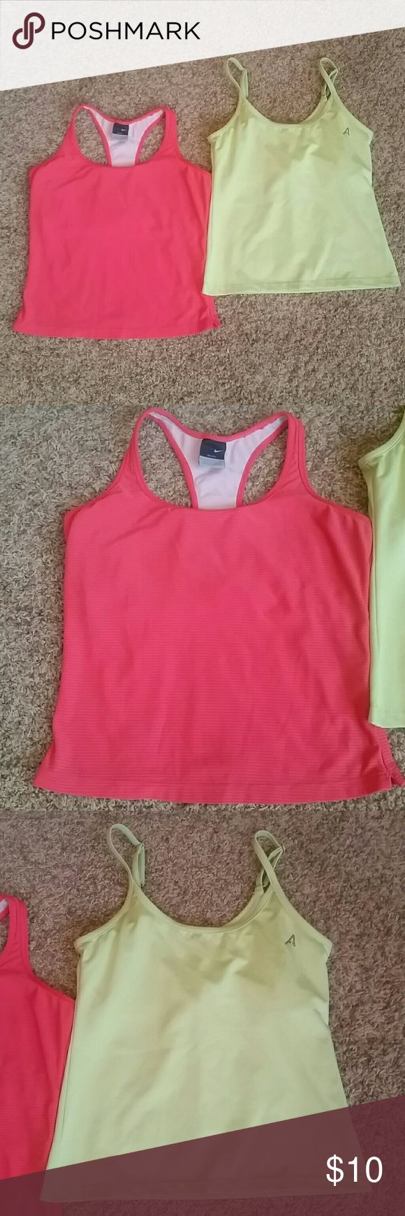 BUNDLE of 2- Workout Tops Nike DriFit Coral razorback top with built in bra Size- L Club Attiyo Green shirt with built in bra and adjustable straps Size -M Both in great shape Tops