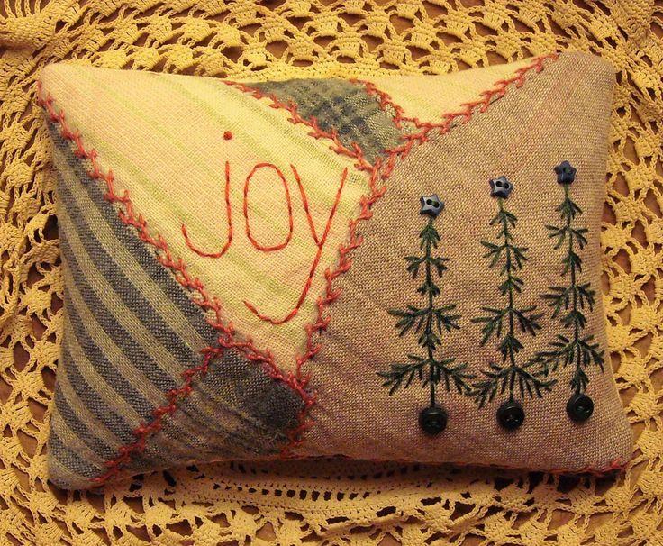 Primitive Rustic Folk Art Christmas Tree Joy Pillow from Vintage Crazy Quilt | eBay